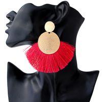 Новые чешские ювелирные изделия Vintage Gold Circle Long кисточкой серьги для женщин Fringe Заявление серьги свадьба подарки LX