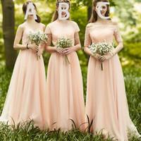 Pêssego Da Dama de Honra Vestidos de Baile 2018 Querida Estilo Diferente Lace Tulle Longo Empregada De Honra Vestidos Até O Chão Vestido Brdesmaid