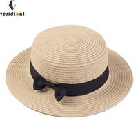 VERIDICAL Lady Boater bonés de sol Fita Redonda Flat Top chapéu de palha  Praia chapéu Panamá 44f24877df0