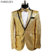 Shiny Gold Sequins Blazer Jacket Men 2018 New Nightclub Prom...