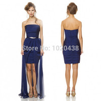 Simple Cheap Strapless Short Frong Long Back Satin High Low ...