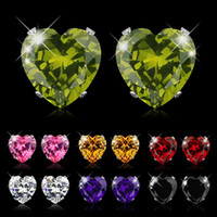 Hot Sale Heart Earring For Girl 8mm Crystal Stud Earrings Ge...