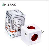 SHIERAK Smart Home Power Cube Socket EU Plug 4 розетки 2 USB-порта адаптер Адаптер Multi Switched Sockets зеленый//красный
