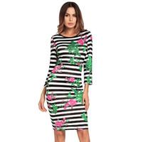 2018 весна новые женские платья полосатый сексуальный пакет хип юбка одношаговый платье с длинным рукавом OL профессиональное платье