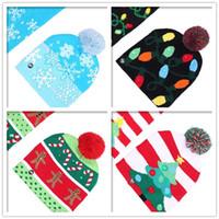 LED 가벼운 성인 키즈 니트 모자 남여 크리스마스 모자 새해 크리스마스 축광 뜨개질 모자이크 뜨개질 모자 파티 장식 선물 DHL