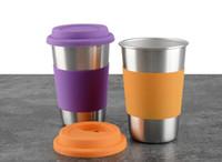 50pcs 500ML tasses en acier inoxydable avec couvercle en silicone tasse de jus de bière tasses 16 oz Tumbler métal cuisine tasse à boire SN1335