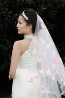 Wholesale mariée rose pétale pétale tourissique STOIL STARRY SECTE SECTION Curling American Net Veil Veil Veil Veil de mariée directe