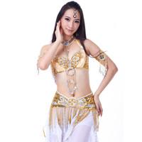 새로운 도착 전문 배꼽 춤 의류 동양 댄스 의상 6 개 배꼽 춤 의상 세트
