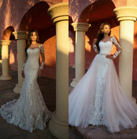 Mermaid Lace Wedding Dresses With Detachable Train Sheer Neck Long Sleeve Wedding Gowns Illusion Beach robes de mariee