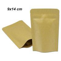 50pcs / lot 9x14 cm marrone stand up up carta kraft all'interno del foglio di alluminio sacchetti di imballaggio di qualità di alimento mylar foglio con cerniera serratura doypack carta custodia cibo