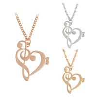 Мода Музыкальная Нота Ожерелье Сплава Золото Серебро Сердце Ожерелья Подвески Любовь Ожерелье Ювелирные Изделия Для Подарка