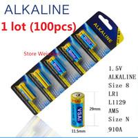 100 unids 1 lote Tamaño 8 LR1 L1129 AM5 Tamaño N 910A 1.5 V Paquete de Tarjeta de Batería Alcalina Envío Gratis
