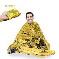 """Manta Mylar de emergencia extra grande de 84 """"X 62"""" - Manta espacial dorado / plateado: Diseñado para - Elementos esenciales para exteriores, senderismo, supervivencia, Maratho"""