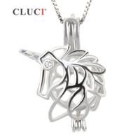 CLUCI Mode 925 Sterling Silber Einhorn Käfig Anhänger für Frauen Perlen Halskette Schmuck 3pcs S18101607