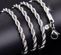 Novas Correntes 925 Colar de Colar de Prata Esterlina 3mm 16-30 Polegada Bonito Moda Charm Chain Chain Colar de Jóias