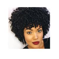 cheveux courts brésiliens perruque frisée cheveux africains Ameri Simulation cheveux humains afro crépus bouclés perruque pour les femmes