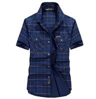 Camicie casual da uomo Plaid Shirt Summer Manica corta in cotone uomo Denim Tempo libero Top Plus Size M-5XL