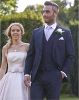 Venta caliente 2019 azul marino Slim Fit Boda Esmoquin Novio Tuxedo (Chaqueta + Pantalones + Chaqueta) Mejores trajes para hombres Trajes para padrinos de boda por encargo