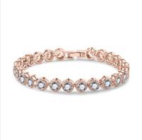 Roma armband clssical luxus schmuck 18k weihnachtsgold gold gefüllt runde cz kristall diamant versprechen cool frauen armband für loverer'gift