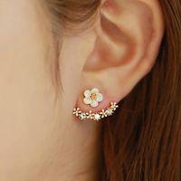 Las mujeres coreanas antialérgicas stud pendientes de oro rosa de oro de la flor de la margarita del oído nai pendiente para las señoras de joyería de moda regalo