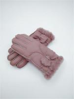 Мода женщин зимние шерстяные перчатки лук теплые перчатки ветрозащитный морозостойкие кожаные перчатки 100% качество кожи