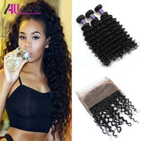Allove 8A Pre Plucked 360 Lace Frontal Closure With 3Bundles...