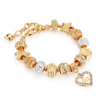 Gold Love Crystal Charms Bracelets Women Fashion Jewelry Valentine Regalo