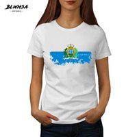 BLWHSA San Marino Women T Shirt Summer 100%Cotton T- shirt fo...