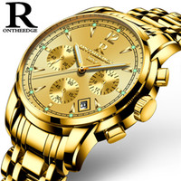 men's full gold watches Multifunction man  watch stainles steel quartz waterproof luminous calendar ontheedge wristwatches