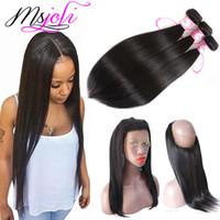 9A 인도 처녀 머리카락 스트레이트 360 레이스 정면 3 번들 자연 색상 여왕 처리되지 않은 머리에 의해 msjoli