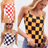 Women Swimwear One- piece Plaid Print Swimsuits New Arrival H...