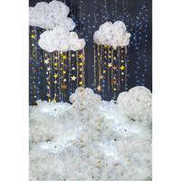 Twinkle Twinkle Little Star Backdrop per la fotografia stampata glitters 3d Nuvole bianche Nuvole bianche Neonato Bambini Bambini Sfondi Studio studio
