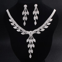 Full Austrian Crystal Bridal Jewelry Sets Silver Color Leave...