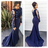 Navy Blue Mermaid вечерние платья иллюзия с длинными рукавами Аппликационные бисером выпускного вечеринка Платье вечеринки вечерние вечеринки платья мать невесты платье