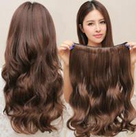 22インチ180 gの大きな波の髪の延長部分黒、茶色の5台の長い一片の巻き毛の片シミュレーションの髪の卸売