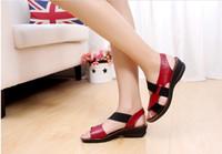 2018 nuevas sandalias de moda de verano mujeres de cuero genuino cómodos zapatos de mujer sandalias de cuña de las sandalias de cuña de las mujeres de las sandalias de cuña de las mujeres del dedo del pie abierto 34-40