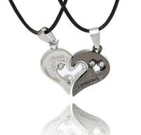 Лучшие продажи Кристалл Алмаз пара в форме сердца кулон мужчины и женщины любят сердце печатных ожерелье из нержавеющей стали комплект ювелирных изделий
