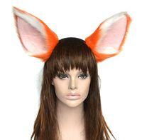 orange fursuit ears headband cat fox wolf ears bands for mens womens anime party cosplay headband halloween costume