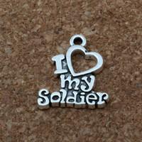 """""""Я люблю моего солдата"""" Шарм подвески 200 шт. / лот горячие продать Антикварные серебряные ювелирные изделия DIY 17 x 20 мм A-174"""
