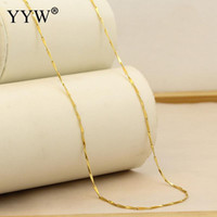 Fashion 24k Gold- Color Necklace Chain For Women Bar Chain Go...
