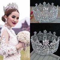 Corona de novia de lujo Cristales de diamantes de imitación grandes Coronas de la reina de la boda real Princesa Crystal Fiesta de cumpleaños barroca Tiaras Quinceaner Queen
