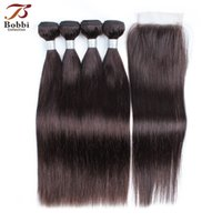 Color 2 Dark Brown Pure Color Straight Hair Weave Bundles wi...