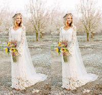 Romantyczne suknie ślubne Boho z długim rękawem Neck Line Full Lace Country Style Style Suknia Bridal Custom Made