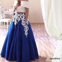 Elegante vestido de fiesta azul real de dos piezas encaje apliques vestidos de fiesta árabe fuera del hombro un-line longitud de piso vestidos de noche Robe de Soirees