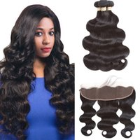 Brazilian Body Wave Human Hair Bundles With Frontal 100% Vir...