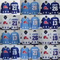 Na venda Quebec Nordiques # 19 Joe Sakic Jersey Patch # 21 Peter Forsberg Hóquei Jersey Boa Qualidade # 13 Sundin azul marinho Jersey