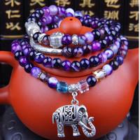 jóias cabeça de Buda pulseiras de cristal de ágata naturais elefante pingente de corda elástica muiltilayer frisado pulseiras para mulheres homens