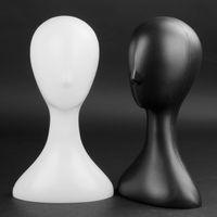 Tonvic Großhandel Plastik Weiß / Schwarz Weiblicher Mannequin-Kopf für Hut-Kappen-Halter Perücken Haarschmuck Hanger stehen Inhaber Ausstellungsstand