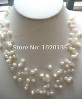 15 filas de perlas de agua dulce blanco baroue 6-8mm collar 16-19 pulgadas cuentas de naturaleza FPP