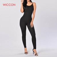 WICCON Casual Yeni Stil Skinny Jumpsuit 2018Summer Katı Renk Romper tulum Kolsuz BODYCON Pamuk tulum Kadın Jumpsuit
